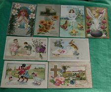 Vintage Lot 8 Easter Postcards Children Chick Rabbit Cross