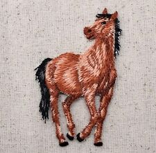 Iron-On Applique Embroidered Patch Bay Brown Horse Facing Left 155470-A