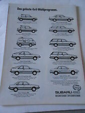 Publicité 1987  SUBARU justy Wagon coupé turbo Sedan AD
