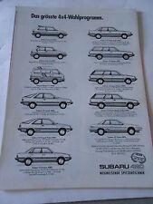 Publicité 1987  SUBARU justy Wagon coupé turbo Sedan AD