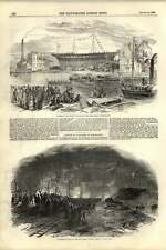 1855 Largest Ship Built Sunderland Torchlight Launch River Clyde