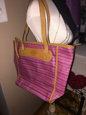 Fossil Key-per Tote Purse Handbag Shopper coated canvas With Leather Striped