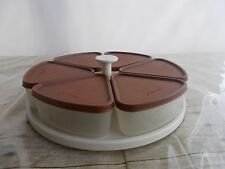 Vintage Tupperware Pie Carousel Pie Slice Keeper Lazy Susan Brown Lids