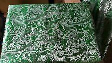 """1m Colore Verde Smeraldo Paisley Broccato/Tessuto Jacquard 58"""" ampi più economico"""