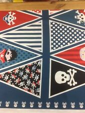 Makower Pirates Bunting Cotton Craft Fabric By The Panel Of 16 Flags