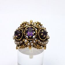Art Nouveau 14k Gold Amethyst Seed Pearl Ring Sz 7