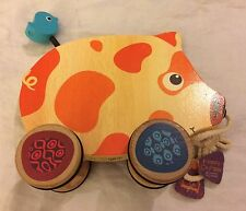Happy Go Piggy - A Classic Wooden Pull Toy With a Funky Twist Pig On Wheels