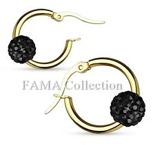 FAMA Swarovski Crystal Ball Stainless Steel Gold IP Hoop Earrings Select Colour