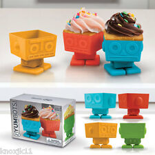 NEW Set (4) YUMBOTS Baking Cups Robot Cupcake Molds Holders Swivel Head by Fred
