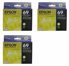 3x Epson 69 T0694 Yellow Ink Cartridge T069420 Genuine New