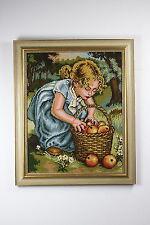 Bild Gobelin Stickbild Mädchen mit Obstkorb
