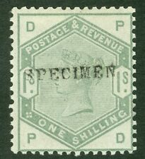 SG 196S 1/- dull green. Overprinted specimen. A pristine very lightly mounted...