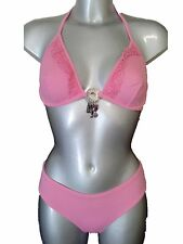 New Baby Pink Bikini UK 10 Underwired No Padding Cups Beaded Halter Neck Sexy