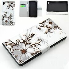 Grey Flower Leather Slots Card Wallet Protective Case Cover For Sony Xperia Z2