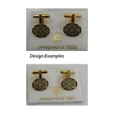 Damascene Gold Mens Cufflinks Oval Geometric by Midas of Toledo Spain 2510Geo