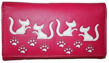 Mala Leather Medium Flapover Purse Style Poppy Cat design 316855 Colour Pink New