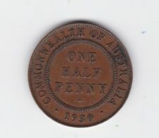 1930 Half Penny Halfpenny Coin Commonwealth of Australia shows 6 pearls E-454