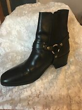 Morello Womens Black Moto Biker Punk Ankle Boot  With Gold Tone Hardware 10.5