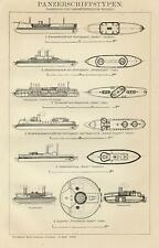 1899= NAVI CORAZZATE = Guerra Navale = Stampa Antica = Old Engraving