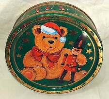"""Vintage Christmas Cookie Candy Tin Denmark Teddy Bear and Toy Soldier 7.5"""""""