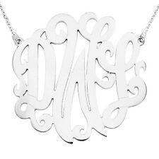 """Mono313A White Rhodium Plated 1.75"""" Sterling Silver 3-Initials Monogram Necklace"""