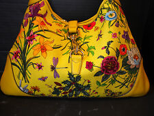 100% Auth GUCCI Yellow Mustard Leather Floral Canvas Jackie O Hobo Handbag MINT