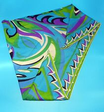 VTG EMILIO PUCCI TRIANGLE 3 SIDE HEAD NECK 100% SILK GEOMETRIC MULTI-COLOR SCARF