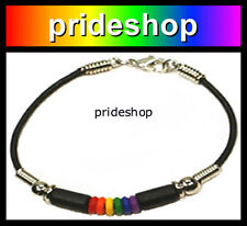 Rainbow Silicone Ring Beads Long Black Ceramic Spacers Gay Lesbian Bracelet #665