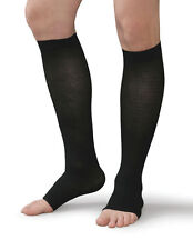 MEDIVEN EX. WIDE CALF SUPPORT OPEN TOE BLACK Compression Stockings UNISEX