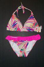 Victoria Secret Palm Print Liya Push Up Halter Swimsuit Bikin L M