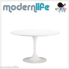 """mid century modern danish 36"""" fiberglass saarinen tulip style white dining table"""