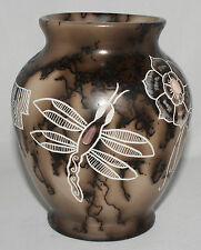 Native American Horsehair Vase with Pink Stone by West Mountain, Cochiti