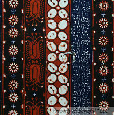 BonEful Fabric FQ Cotton African Batik Indonesian Hand Dye Wax Tribe Stripe RARE