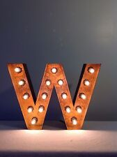 "New Rustic Metal Letter W Light Marquee: Sign Wall Decoration 12"" Vintage"