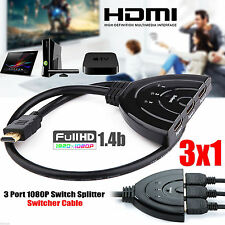 3 Port HDMI Splitter Cable 1080p Multi Switch Switcher HUB Box LCD HDTV PS3 Xbox