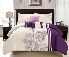 7-Piece Cream Purple Seamless Paisley Floral Embroidered Comforter Set, King