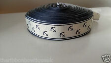 "1 yard - 25mm (1"") wide CREAM/NAVY BLUE ANCHOR NAUTICAL GROSGRAIN RIBBON"