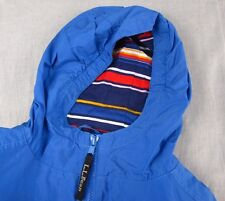 L.L. Bean Sprin Jacket Youth Coat Size 10-12 Kids Blue Hooded Fall Autumn Track
