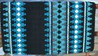 Mayatex Wool Show Saddle Blanket Pad 34x40 Turquoise Blue Black White THICK