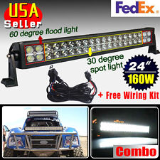 24 inch 160W Flood Spot Combo Led Work Light Bar 4WD UTE OFFROAD SUV ATV +Wiring