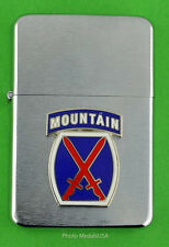 10th MOUNTAIN DIVISION ARMY WIND PROOF PREMIUM LIGHTER -  GIFT BOX  ARMY SBC91