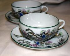 Pair of Vintage Japanese Porcelain Tea Cups and Saucers Hand Painted Geishas
