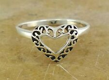 PRETTY .925 STERLING SILVER FILIGREE OPEN HEART RING size 9  style# r1926