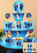 3 Tier Cupcake Stand Cup Cake Cases Toppers Wrappers Dessert Party Disney Frozen