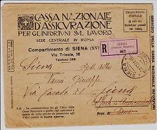 CASSA NAZIONALE D'ASSICURAZIONE-Raccomandata in franchigia Siena- Belforte 1921