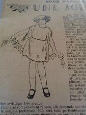 """ANCIEN PATRON POUR LA POUPEE """" BLEUETTE """"ROBE DE PRINTEMPS MAI  1923"""