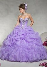 New Ball Gown Princess Organza Skirt Prom. Lilac Quinceanera Dress. Size 8.