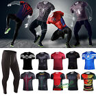 Men T-shirt Marvel Compression Cycling Stretch Jersey Tight Tops Pants Bottoms