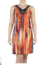 Chelsea and Theodore Size M colorful embroidered bib Dress Aztec design NWT