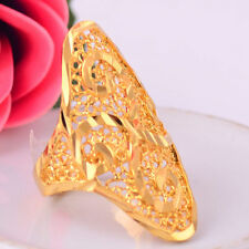 Women Girl 14K Gold Filled Hollow Out Carving Flower Ring Fashion Jewelry Size 8
